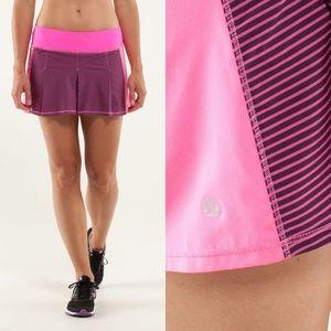 Lululemon Fast Cat Skirt Hyper Stripe Raspberry Gl